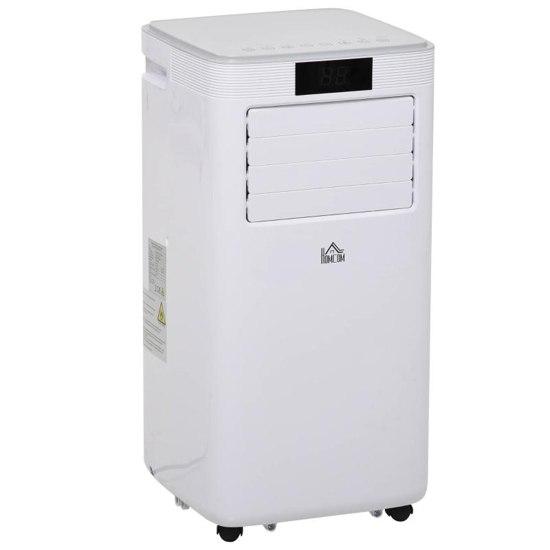 HOMCOM Aire Acondicionado Portátil 8000Btu 4 en 1 Refrigerador Ventilador Deshumidificador 2 Velocidades con Pantalla LED Control Remoto Temporizador Silencioso 900W 38x35x70,5 cm Blanco