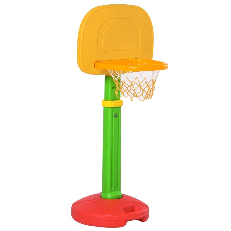 HOMCOM Canasta de Baloncesto Infantil con Altura Ajustable 2 Pelotas e Inflador para Niños +3 Años Juguetes Deportivos en Interiores y Exteriores 52,5x44x120-160 cm Multicolor