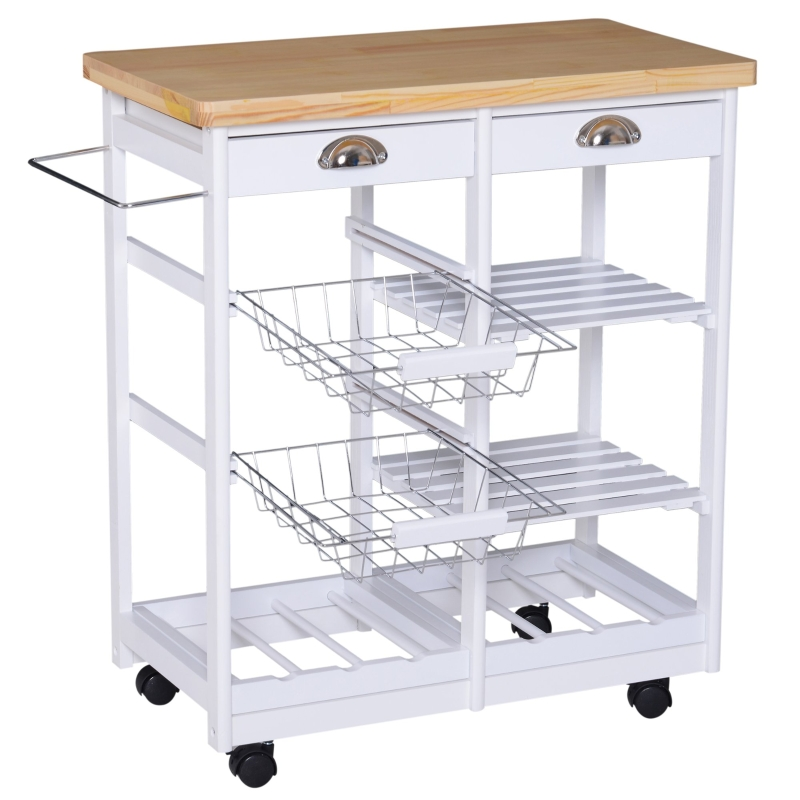 HOMCOM Rolling Kitchen Island Trolley Serving Cart Drawer Shelves Basket White