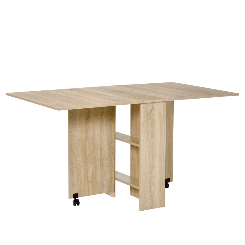 HOMCOM Dining Table Drop Leaf Folding Expandable 6 Person w/ Wheels, Storage Shelf