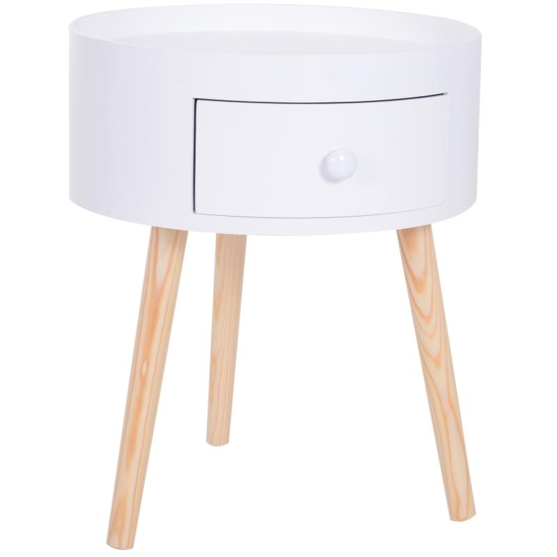 HOMCOM Round Coffee Table,  38 x 45H cm-White