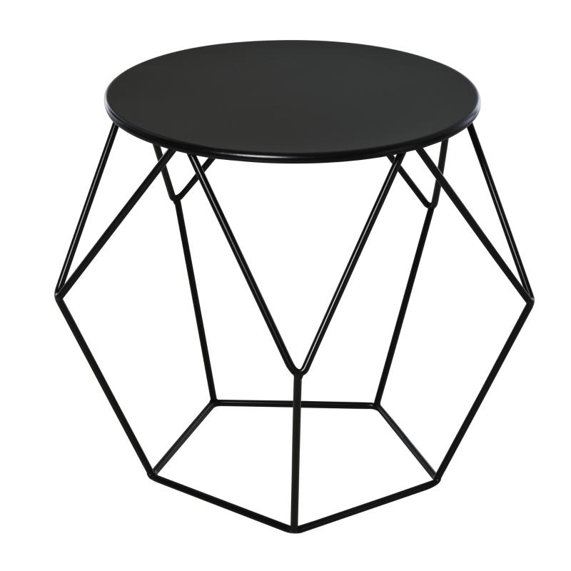 HOMCOM Steel Minimalist Pentagon Shaped Round Coffee Table Black