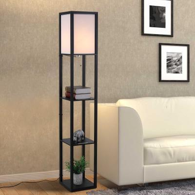 Reading Standing Lamp for Living Room White Dorm Dining Room HOMCOM 4-Tier Floor Lamp Bedroom Floor Light with Storage Shelf Kitchen Office