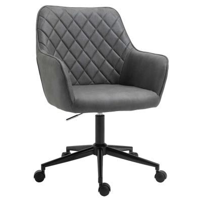 Vinsetto Swivel Argyle Office Chair Leather-Feel Fabric Home Study Leisure with Wheels