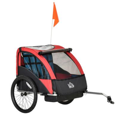 HOMCOM Child Bicycle Trailer Foldable Baby Carrier 2-Seat w/ Storage Bag Safety Harness