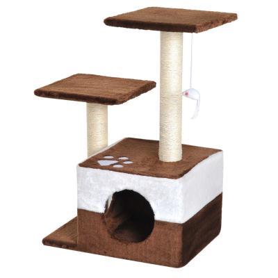 PawHut Rascador para Gatos Árbol Rascador Centro de Actividad Plataformas Caseta Ratón de Juguete 45x33x70cm Sisal Natural