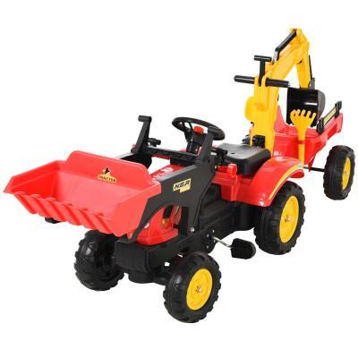 HOMCOM Tractor a Pedales con Remolque Excavador con Pala Frontal Juguete de Conducción para +3 Años Dirección y Palas 179x42x59cm Rojo