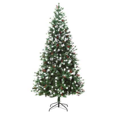 HOMCOM Árbol de Navidad Artificial 180 cm con 55 Bayas 836 Ramas PE Tridente PVC Base Plegable y Soporte Metálico Decoración Navideña para Interiores Verde