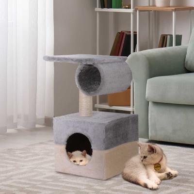 PawHut Rascador Árbol para Gatos con Poste Central Casa cama de Felpa Suave para Arañar Dormir y Jugar 31x31x58cm Gris y Beige