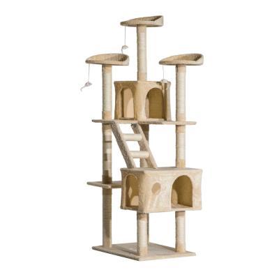 PawHut Rascador Gato Árbol para Gatos con Poste de Arañar Múltiples Plataformas Escaleras Cuevas Juguetes Centro de Actividades 60x50x180 cm Beige