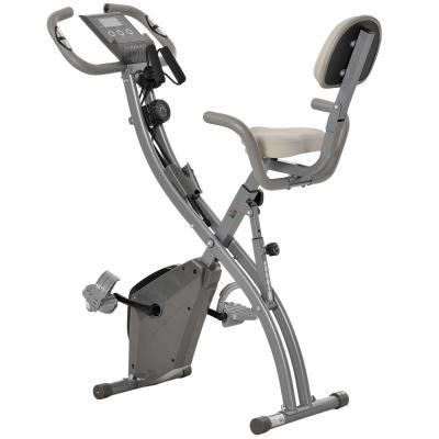HOMCOM Bicicleta Estática Plegable con Altura y Resistencia Magnética Ajustables con Pantalla LCD y Asiento con Respaldo 97x51x115 cm Gris