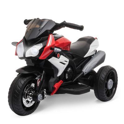 HOMCOM Moto Eléctrica Infantil con 3 Ruedas Trimoto para Niños de +3 Años con Batería 6V Recargable Funciones de Música Bocina Faros 86x42x52 cm Negro y Rojo