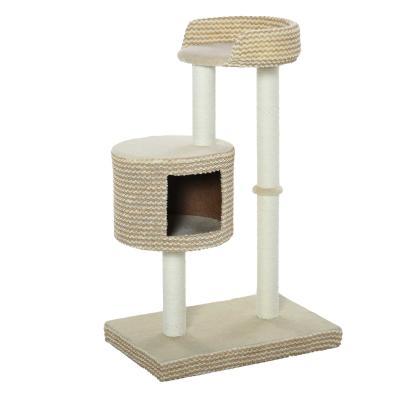 PawHut Árbol Rascador para Gatos Árbol de Actividades para Gatos con Cueva de Felpa Postes de Yute Plataforma Cómoda 61x41x96 cm Beige y Café