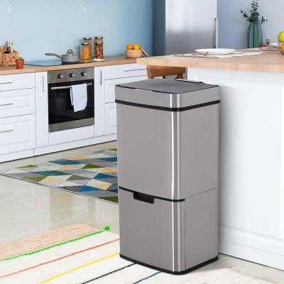 HOMCOM Cubo de Basura Apertura Automática Sensor Papelera Reciclaje para Cocina Dormitorio 72L Acero Inox