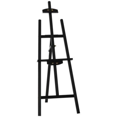 HOMCOM Caballete Pintura de Madera Caballete de Dibujo Estudio Inclinable 90° con Soporte Trípode y Pincel 51,5x71,5x134,5 cm Negro