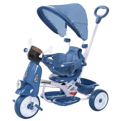 HOMCOM Triciclo Evolutivo Infantil Silla de Paseo Infantil con Función de Luz y Música Barra de Seguridad y Toldo Retráctil 93x51x94 cm Azul
