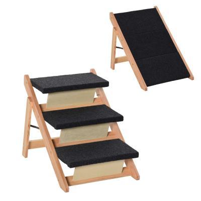 PawHut Escalera de Madera para Mascotas Plegable 2 en 1 Rampa Portátil con 3 Escalones para Acceso al Sofá y Cama Alta 60x47x50 cm Negro y Natural