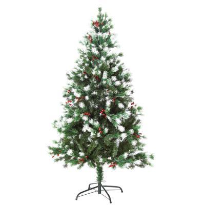 HOMCOM Árbol de Navidad Artificial 150 cm con 41 Bayas 554 Ramas PE Tridente PVC Base Plegable y Soporte Metálico Decoración Navideña para Interiores Verde