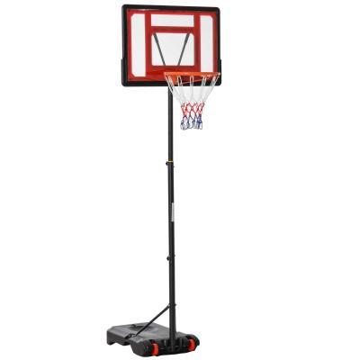 HOMCOM Canasta de Baloncesto Ajustable de 160-210 cm Aro de Baloncesto con Soporte de Acero Base Rellenable y 2 Ruedas para Niños y Adultos Rojo Negro