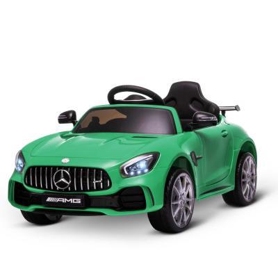 HOMCOM Coche Eléctrico para Niños Mercedes GTR con Licencia +3 Años Batería 12V con Mando a Distancia Música Faros Puerta de Doble Apertura Carga 25kg 105x58x45 cm Verde