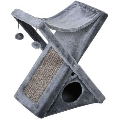 PawHut Árbol Rascador para Gatos Plegable con Cueva Hamaca Alfombrilla Rascadora de Sisal Bolas Colgantes para Espacios Reducidos Juego y Descanso 54,5x32x65 cm Gris