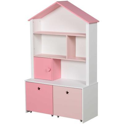 HOMCOM Estantería de Madera Infantil Librería para Niños con 4 Compartimentos 1 Puerta y 2 Cajones Extraíbles con Ruedas para Libros Juguetes 80x34x130 cm Rosa y Blanco