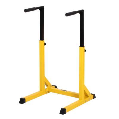 HOMCOM Estación Dip de Musculación Tipo Barras con Altura Ajustable Soporte para Entrenar Abdominales Espalda Peso Máximo de 100 kg 66x75x83-119 cm Amarillo