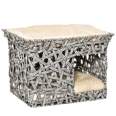 PawHut Cesta de Ratán para Gatos de 2 Pisos Cueva Cama de Gato Tipo Caseta con 2 Cojines Suaves Estructura de Metal 51x42x37 cm Gris y Beige