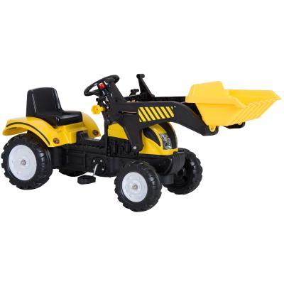 HOMCOM Tractor Pedal Excavadora Camión + Pala Delantera para Niños 3 Años Juguete de Montar Coche Pedales Carga 35kg 114x41x52cm Acero y Plástico