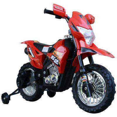 HOMCOM Moto de Batería Infantil Motocicleta Eléctrica para Niños de +3 Años con Luces Música y Ruedas de Apoyo 109x52,2x70,5 cm Rojo