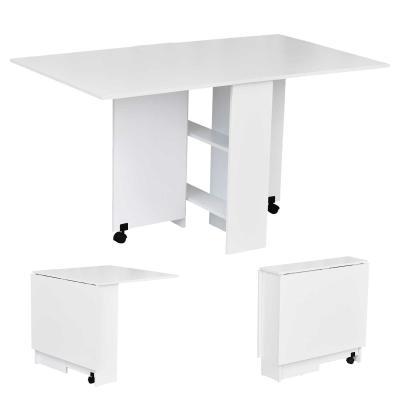 HOMCOM Mesa de Comedor Plegable Mesa de Madera con 2 Solapas 2 Estantes de Almacenaje y Ruedas para Cocina 80x140x74 cm Blanco