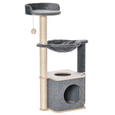 PawHut Árbol Rascador para Gatos Árbol para Escalar Juego y Descanso con Hamaca Plataformas Cueva Bola Colgante y Postes para Rascar de Sisal 48x34x95 cm Gris