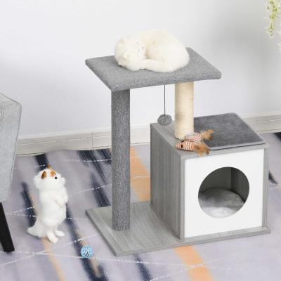PawHut Árbol para Gatos Rascador para Gatos de 3 Niveles con Plataformas Postes de Rascado Cueva Espaciosa Cojines Extraíbles Suaves Bola de Juguete 59x39x62 cm Gris