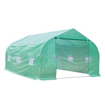 Outsunny Invernadero Caseta con 6 Ventanas Buena Ventilación Estructura de Acero Estable Gran Entrada Cremallera para Cultivo Plantas 450x300x200 cm