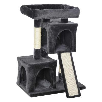 PawHut Árbol Múltiples Actividades para Gatos Centro de Juegos para Mascotas con Postes y Tablero Rascador Cuevas Cama con Borde Elevado Tacto Suave 59x39x83 cm Gris Oscuro