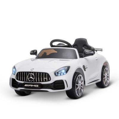 HOMCOM Coche Eléctrico para Niños Mercedes GTR con Licencia +3 Años Batería 12V con Mando a Distancia Música Faros Puerta de Doble Apertura Carga 25kg 105x58x45 cm Blanco