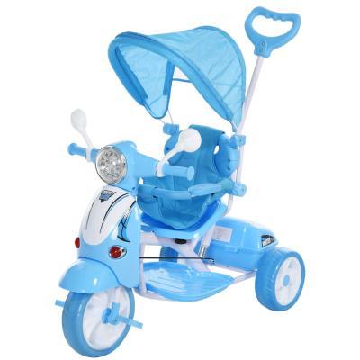HOMCOM Triciclo para Niños Mayores de 3 Años Triciclo Evolutivo Plegable con Funciones de Luz y Música Toldo Forma de Motocicleta 102x48x96cm