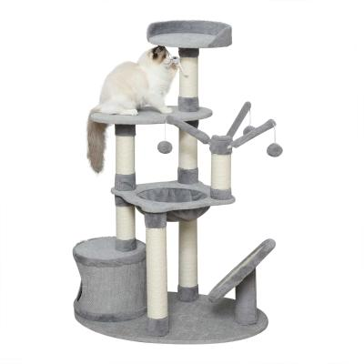 PawHut Árbol Rascador para Gatos con Hamaca Plataformas Juguetes Colgantes de felpa Suave y Postes para Rascar de Sisal Natural 80x55x122 cm Gris