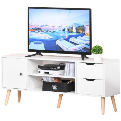 HOMCOM Mueble de TV Mesa de Salón Moderno 120x28x44 cm Gran Almacenaje con Armario Estantes Abiertos y Cajones Carga 30 kg para Dormitorio Sala Blanco