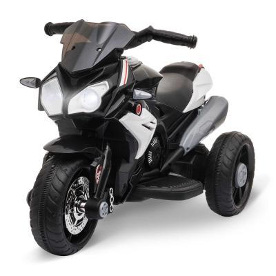 HOMCOM Moto Eléctrica Infantil con 3 Ruedas Trimoto para Niños de +3 Años con Batería 6V Recargable Funciones de Música Bocina Faros 86x42x52 cm Negro y Blanco