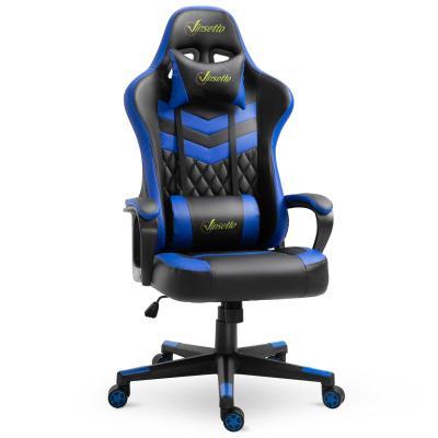 Vinsetto Silla Gaming Silla de Escritorio de Oficina Ergonómica Altura Regulable Basculante con Reposacabezas Cojín Lumbar 61x70x121-129 cm Azul