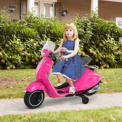 HomCom® Moto Eléctrica Vespa Faros Música 2 Ruedas Auxiliares para Niños Mayores de 3 Años Motocicleta Infantil Autorizada 108x49x75 cm Rosa