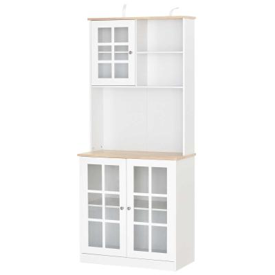 HOMCOM Armario de Cocina con Estantes y Puertas de Vidrio Perfecto para Pequeños Electrodomésticos y Menaje 80x37x183cm Blanco