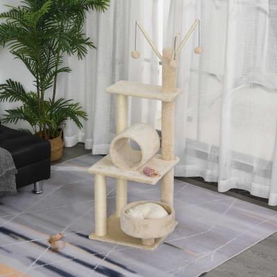 PawHut Árbol para Gatos Torre de Escalada Divertido con Cama Redonda Suave Postes Rascadores de Sisal Natural Túnel Juguetes Colgantes 40x40x121 cm Beige
