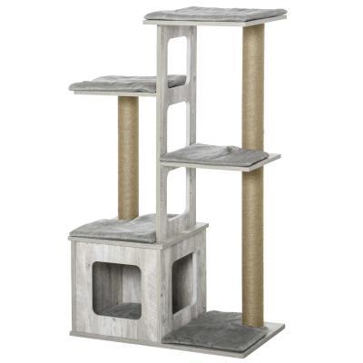 PawHut Árbol Rascador para Gatos Torre de Escalada de Gatos con Cueva Múltiples Plataformas y Postes de Rascar de Yute Juego y Descanso 67x38,5x114 cm Gris