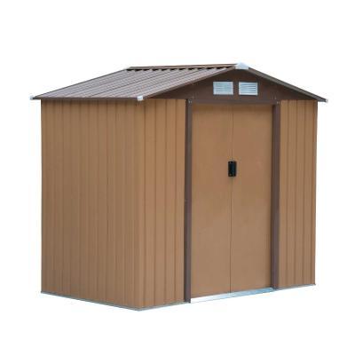 Outsunny Caseta de Jardín Tipo Cobertizo de Exterior de Acero con Puerta Corrediza y Ventilación para Almacenaje de Herramientas Jardinería 213x127x185 cm Caqui