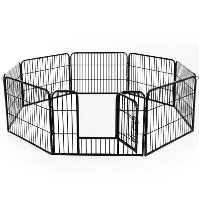 PawHut Jaula de Macotas Valla Parque para Perro Gato con Puerta Doble Seguro Tubo Rectangular Hierro 80x60 cm Negro