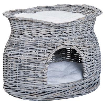 PawHut Cesta de Mimbre para Gatos de 2 Alturas con Cama y Cueva con Cojines Lavables 56x37x40 cm Gris