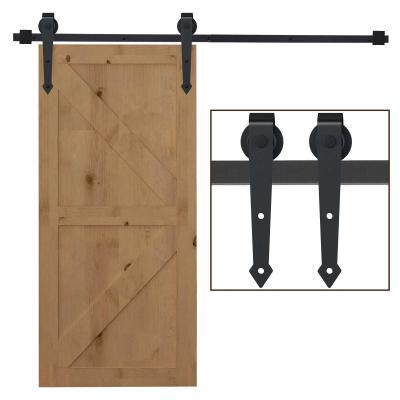 HOMCOM 200cm/6.6FT Herraje para Puerta Corredera Tipo Flecha Kit de Accesorios para Puerta Corrediza Granero de Madera con Guía de Suelo Riel Acero al Carbono Negro