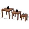 Tuin salontafel 3-delige set stapeltafel bijzettafel koffietafel acaciahout naturel(m-3)